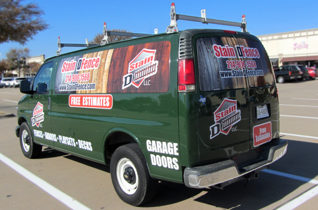 Stain DFence Service Van for Plano and Surrounding Area. The Fence Staining Professionals!