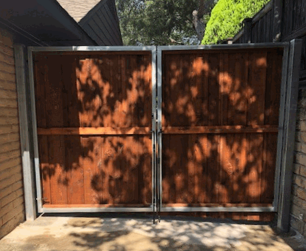 wood fence gate in plano